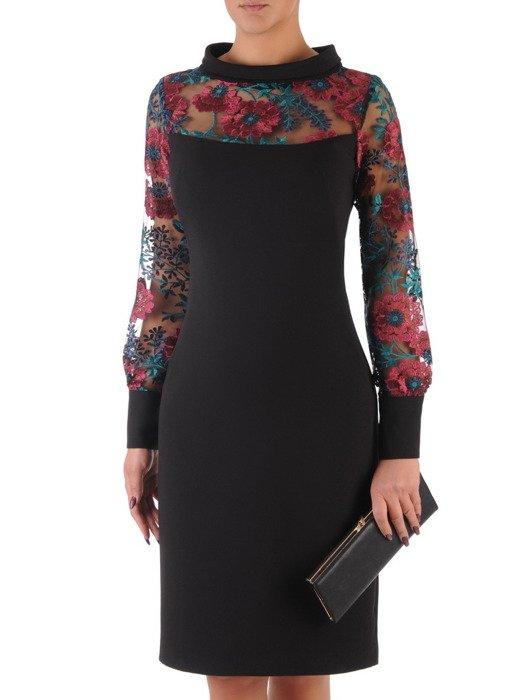 Sukienka damska 18032, elegancka kreacja z koronkowym karczkiem i rękawami.