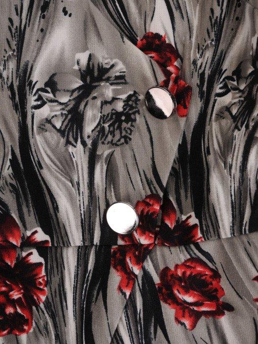 Sukienka damska 18119, jesienna kreacja z łączonych materiałów.