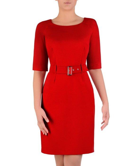 Sukienka damska Akira III, czerwona kreacja z paskiem podkreślającym talię.
