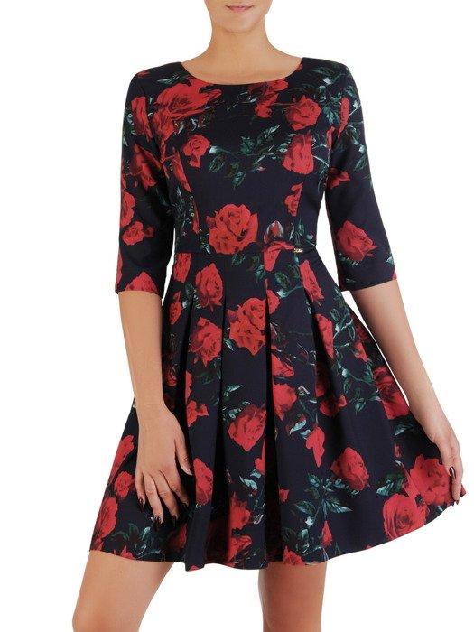 Sukienka damska Arona IV, elegancka kreacja w kwiaty.