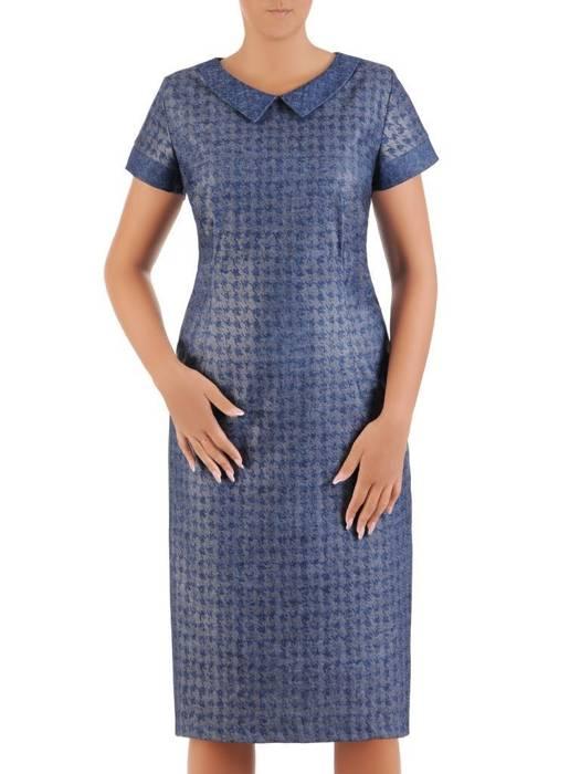 Sukienka damska Celestia V, wiosenna kreacja w geometrycznym wzorze.