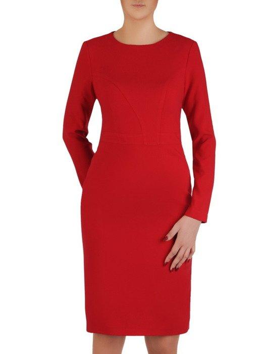 Sukienka damska Klaudetta II, czerwona kreacja z tkaniny.