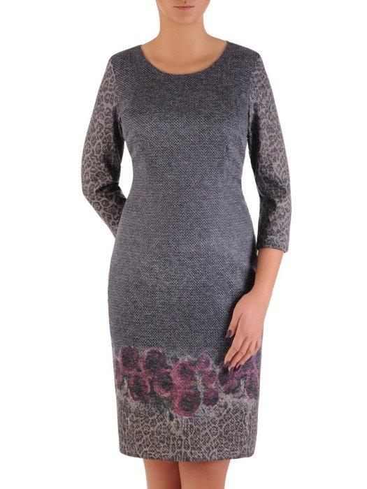 Sukienka damska Krystyna XXIV, wyszczuplająca kreacja z kominem.
