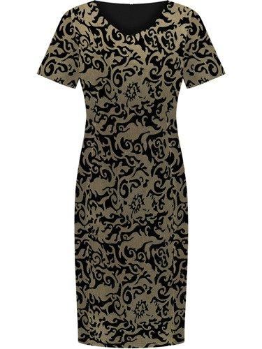 Sukienka damska Ludmira, elegancka kreacja w modnym wzorze.