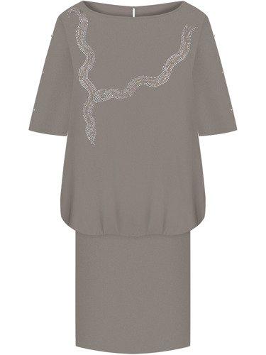 Sukienka damska Magnolia XXII, jesienna kreacja w fasonie maskującym brzuch.