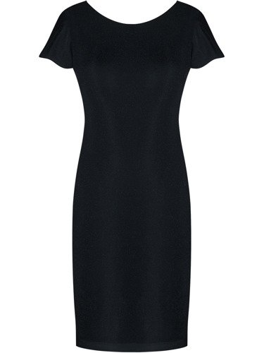 Sukienka damska Oktawia II, czarna kreacja z delikatnym połyskiem.