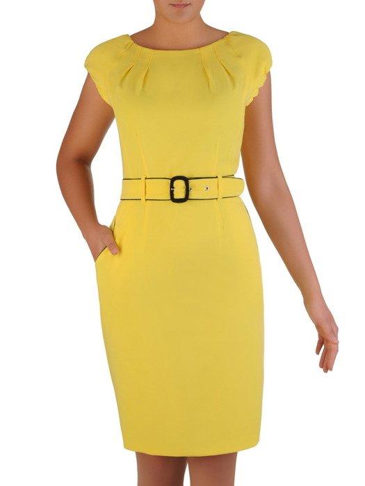 Sukienka damska Paulina III, wiosenna kreacja w żółtym kolorze.