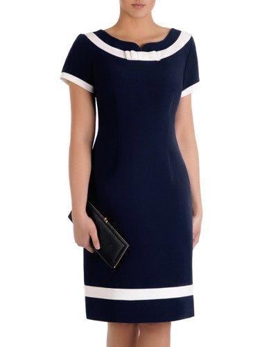 Sukienka damska Tenita I, granatowa kreacja z kontrastowymi wstawkami.