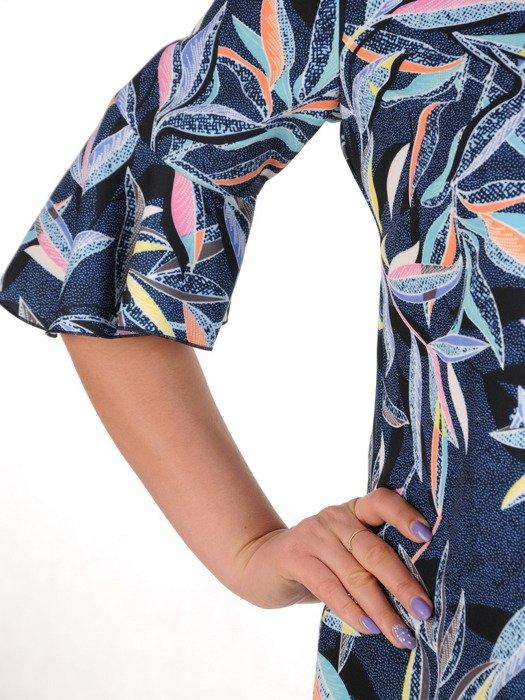 Sukienka damska, granatowa kreacja w kolorowe liście 20385.