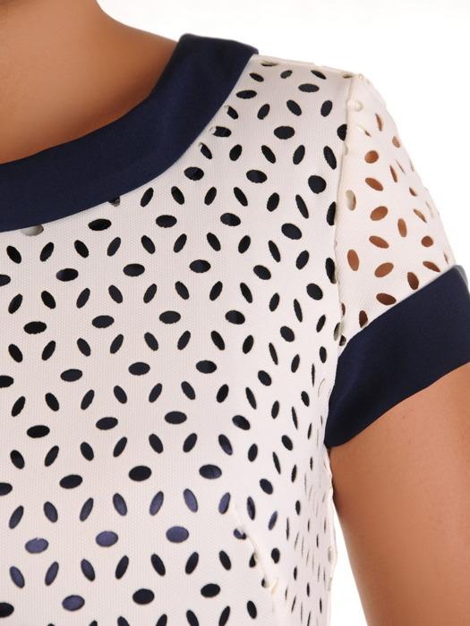 Sukienka damska, prosta kreacja z łączonych tkanin 21317.