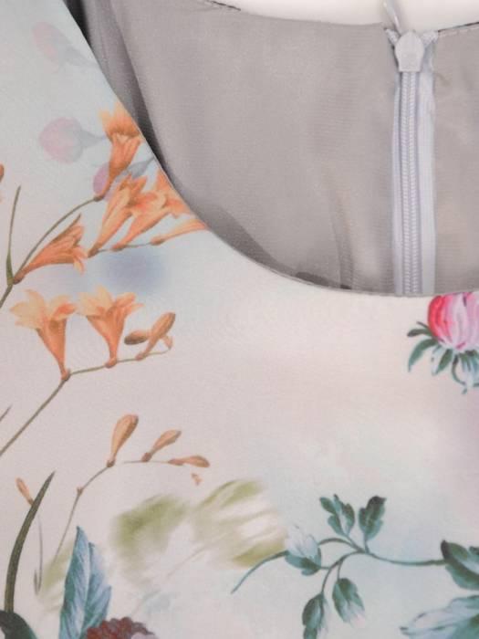 Sukienka damska w kwiaty, wizytowa kreacja w luźnym fasonie 28178