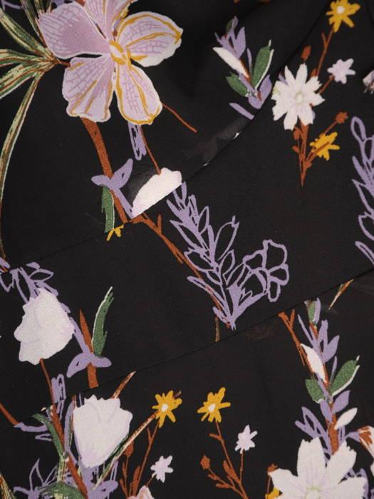 Sukienka damska z długim rękawem, zwiewna kreacja w kwiaty 31037