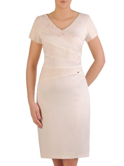 Sukienka damska z ozdobnymi przeszyciami i wytłaczanym wzorem 29229