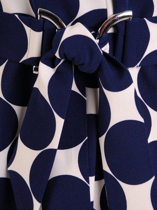 Sukienka kopertowa, wiosenna kreacja w geometrycznym wzorze 25553