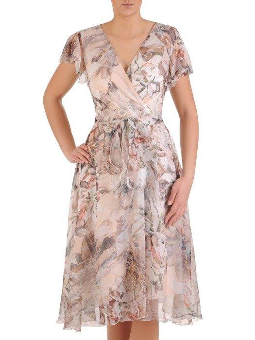 Sukienka kopertowa, zwiewna kreacja z szyfonu 25534