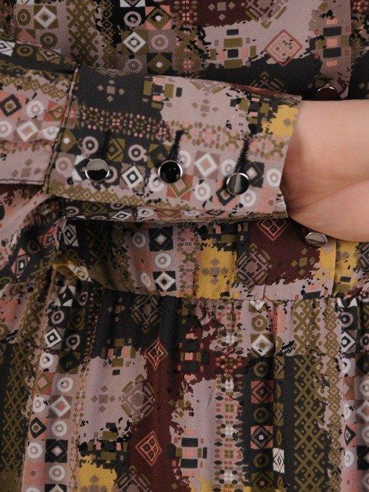 Sukienka maxi z guzikami przy dekolcie, modna kreacja z szyfonu 25020