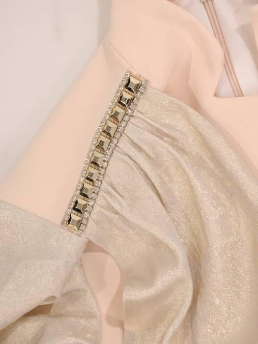 Sukienka maxi z kopertowym dekoltem, kreacja z ozdobną taśmą 30166