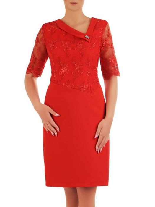 Sukienka na wesele, czerwona kreacja z koronki i tkaniny 26389