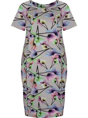 Sukienka tuba Mirona LXIX, wyszczuplająca kreacja maskująca brzuch.