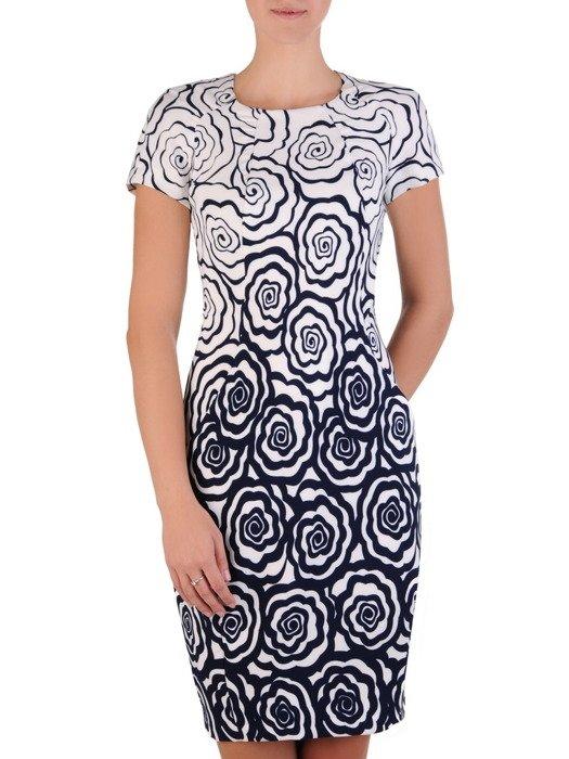 Sukienka tuba Mirona XXVII, wyszczuplająca kreacja maskująca brzuch.