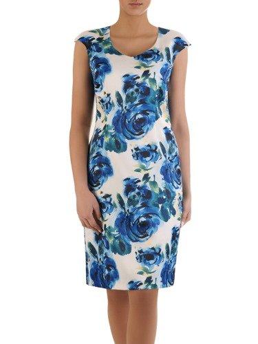 Sukienka w chabrowe kwiaty Bogumiła, elegancka kreacja na wiosnę