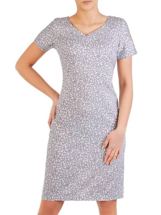Sukienka w ciekawy wzór, prosty fason z dekoltem w serek  28799