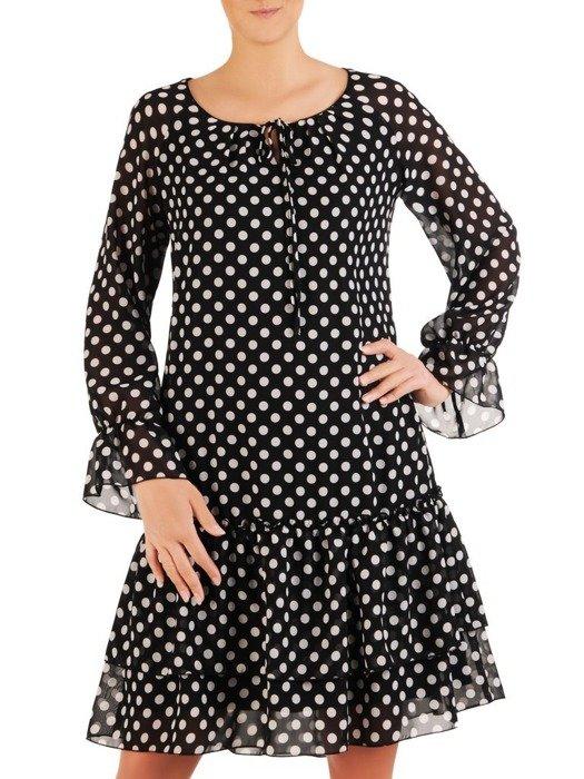 Sukienka w grochy, zwiewna kreacja z szyfonu 26072