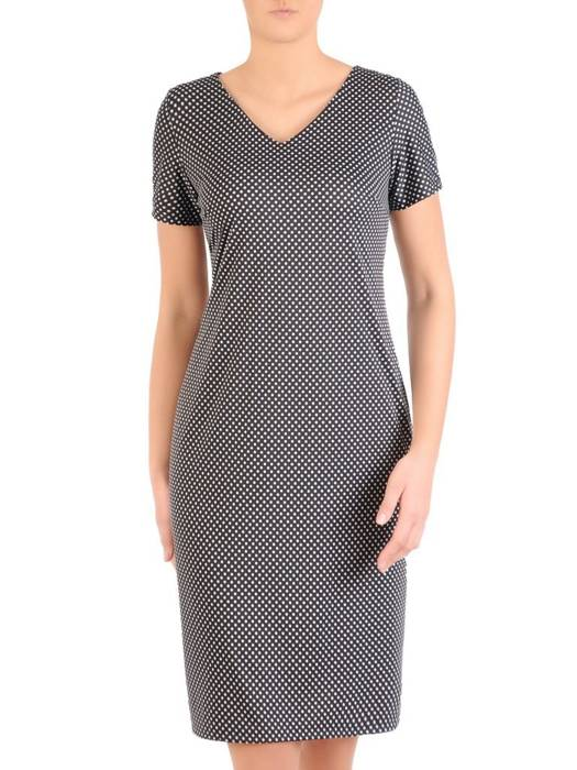 Sukienka w groszki, prosty fason z dekoltem w serek 28791