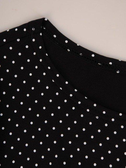 Sukienka w groszki, rozkloszowana kreacja z paskiem 26106