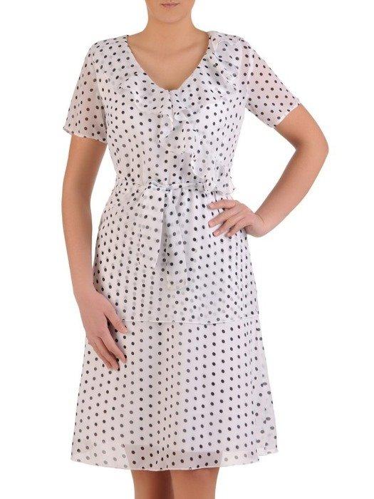 Sukienka w groszki, zwiewna kreacja z falbanami 25667