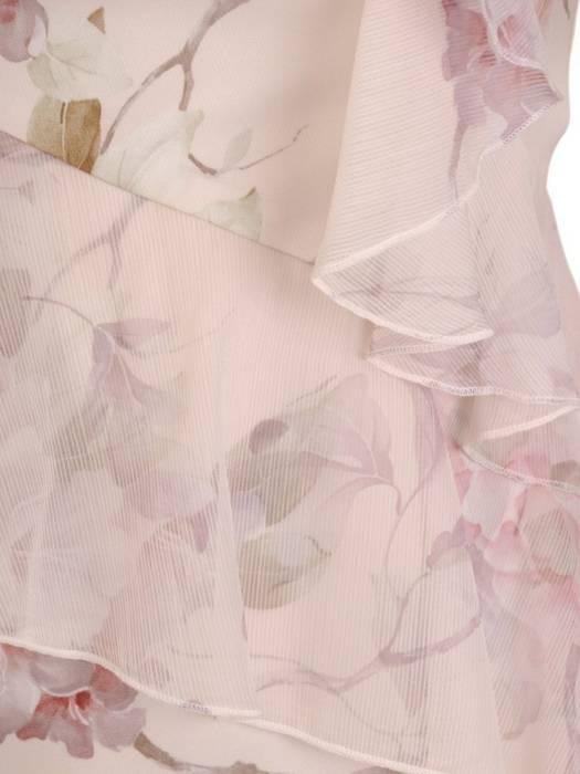 Sukienka w kwiaty, kreacja z szyfonowymi fabianami 28205