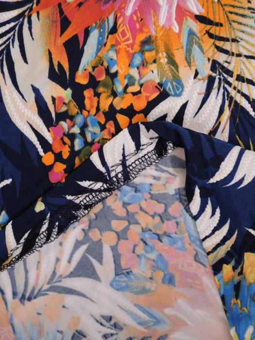 Sukienka w kwiaty, letnia kreacja z dzianiny 21139.
