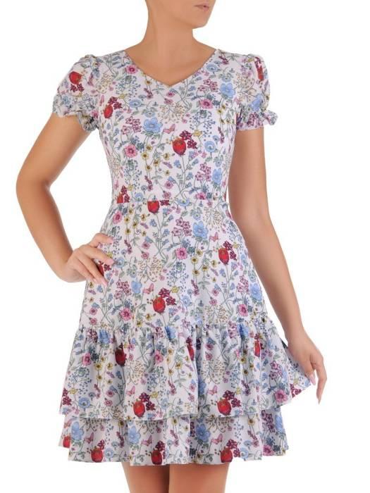 Sukienka w kwiaty, luźna kreacja z falbanami 26473