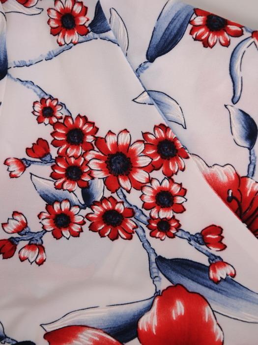 Sukienka w kwiaty, prosta kreacja z dekoltem w serek 21625.