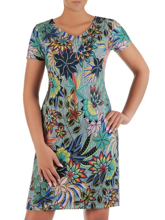 Sukienka w kwiaty, prosta kreacja z dzianiny 21145.