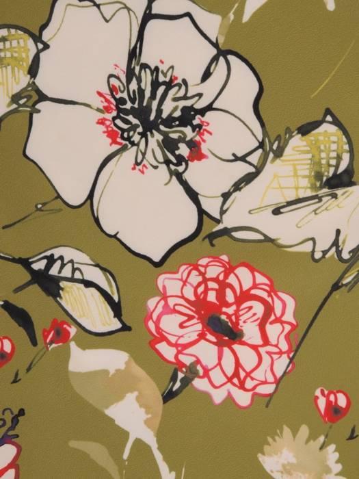 Sukienka w kwiaty, prosta kreacja z modnymi rękawami 29087