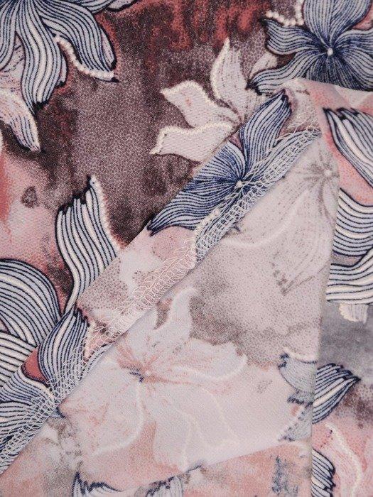 Sukienka w kwiaty, prosty fason z dekoltem w serek 25963