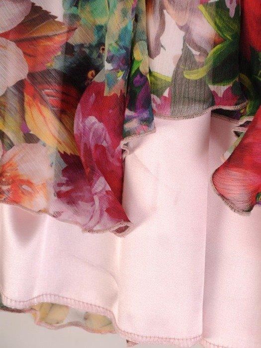Sukienka w kwiaty, zwiewna kreacja z szyfonu 25620