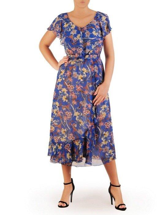 Sukienka w kwiaty, zwiewna kreacja z szyfonu 26161