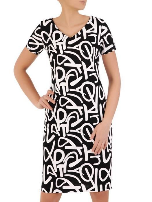 Sukienka w napisy, prosty fason z dekoltem w serek 28806