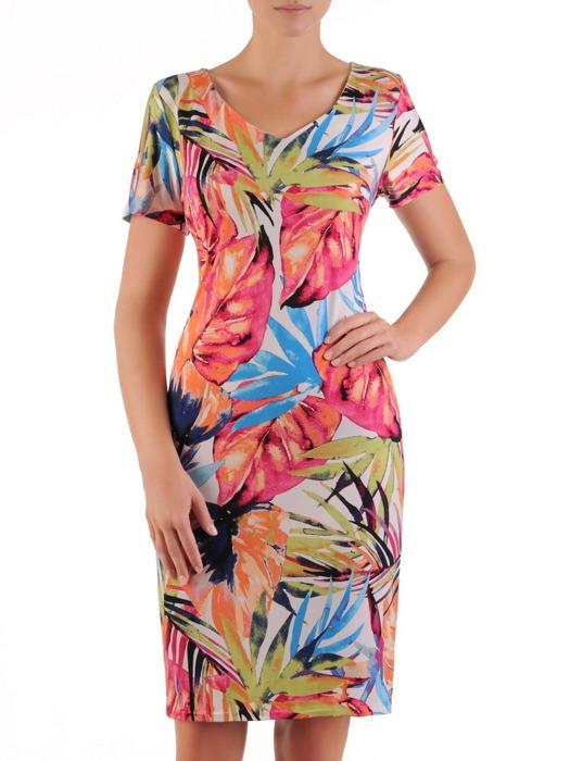 Sukienka w roślinny wzór, prosta kreacja z dekoltem w serek 21623.