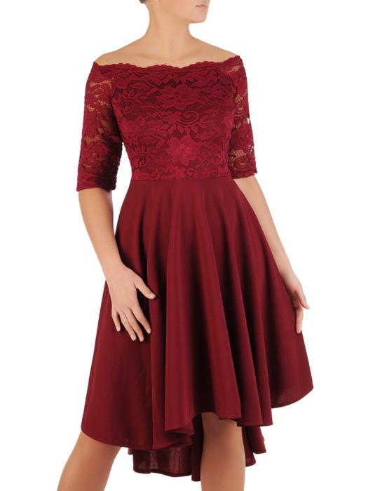 Sukienka w rozkloszowanym fasonie, kreacja z koronkowym topem 22856