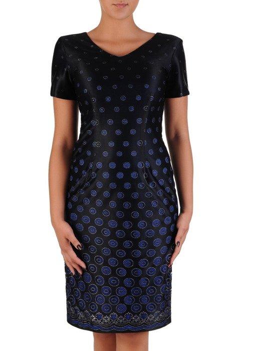 Sukienka wieczorowa Belinda, elegancka kreacja w grochy,