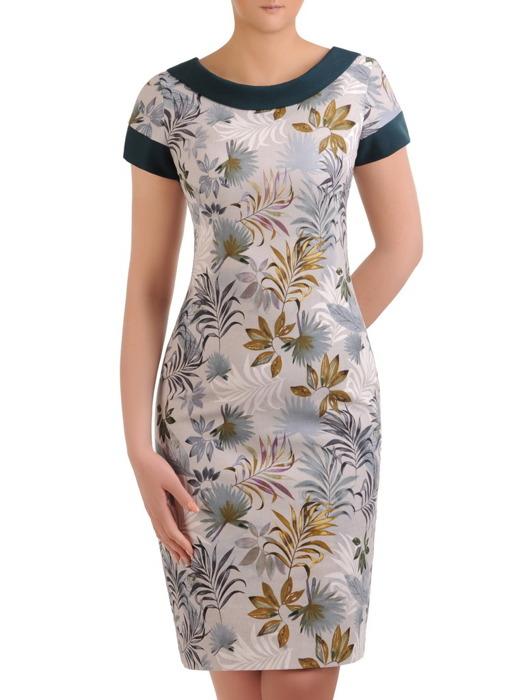 Sukienka wiosenna, prosta kreacja w kwiaty 20728.