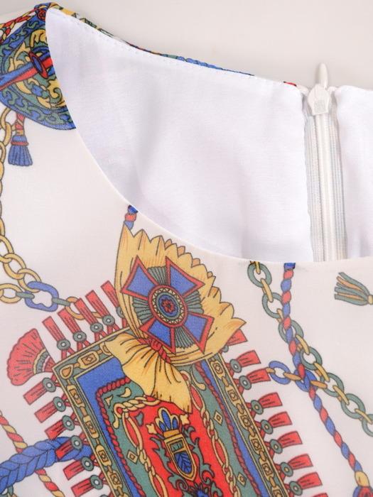Sukienka wiosenna, zwiewna kreacja w kolorowe łańcuchy 20469.