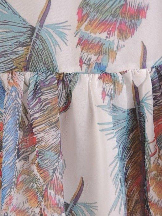 Sukienka wiosenna, zwiewna kreacja z ozdobną falbaną 25443