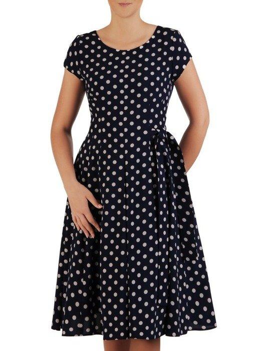 Sukienka wizytowa, rozkloszowana kreacja w grochy 26019