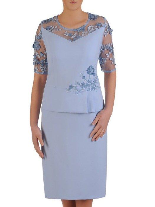 Sukienka wyjściowa, elegancka kreacja z baskinką 25510