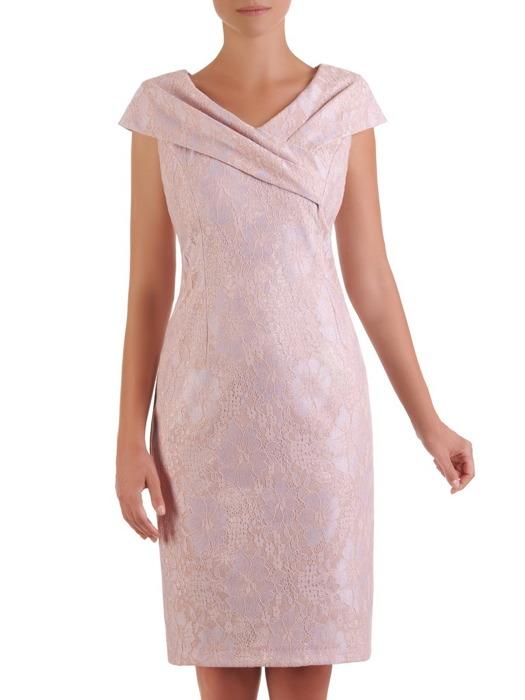 Sukienka wyjściowa, elegancka kreacja z ozdobnym kołnierzem 21530.