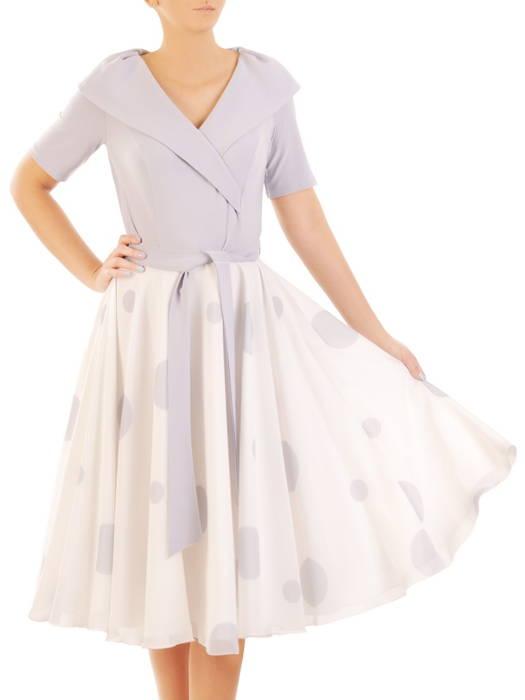 Sukienka wyjściowa, rozkloszowana kreacja w grochy 31210